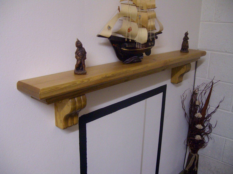 "Mantel Shelf-Corbels-Stove Shelf-Pine-Rustic Mantle-54"" x 5 3/4"" x 2 3/4"" (1370mm x 145mm x 70mm)"