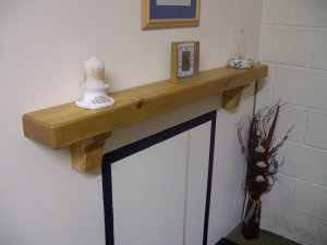"Mantel Shelf with Corbels-Stove-Pine-Rustic Mantle-54"" x 5 3/4"" x 2 3/4"" (1370mm x 145mm x 70mm)"
