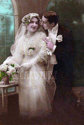 ELEGANT WEDDING COUPLE Antique Photo Postcard Reproduction