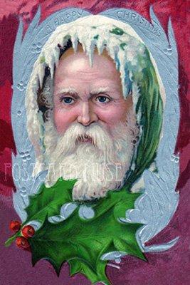 GREEN ROBE SANTA Antique Christmas Postcard Reproduction