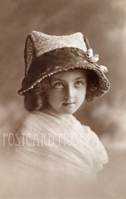 BIG EYED GIRL IN A HAT Antique Photo Postcard Reproduction
