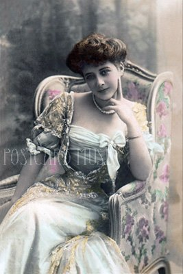 ELEGANT LADY IN A CHAIR Antique Photo Postcard Reproduction