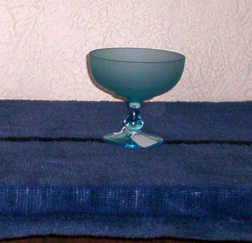 Vintage Westmoreland Blue Satin Footed Compote