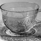 Anchor Hocking Crystal Sandwich Glass Cup & Saucer Set