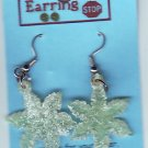Earrings Dangle Green SNOWFLAKE Handmade  #H020