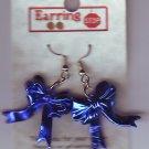 Dangle Earrings Blue Ribbon Bow Handmade  #H017