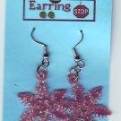 Red SNOWFLAKE Earrings Dangle Handmade  H014