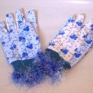 Blue Fancy Garden Work Gloves with Fuzzy cuff.  adult medium Handmade in USA