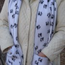 Black and White Paw Prints Handwarmer Pocket Winter Scarf Design Fleece Neck 69 x 9 S2009713