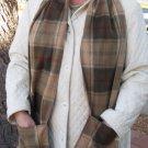 Brown Plaid Handwarmer Pocket Winter Scarf Design Fleece Neck 70 x 9 S2009719