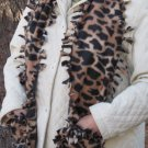 Leopard Design Handwarmer Pocket Winter Scarf Tied Edges Fleece Neck 64 x 9 S2009726
