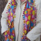 Colorful Bubbles Design Handwarmer Pocket Winter Scarf Tied Edges Fleece Neck 64 x 10 S2009729