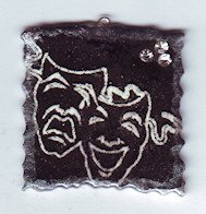 Polymer DRAMA Theater Masks Necklace Pendant  with Crystals 2010063