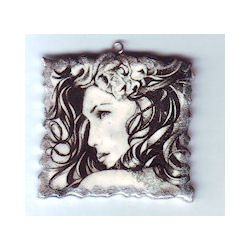 Polymer Black and White Lady Face Art Necklace Pendant 2010064