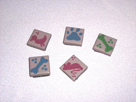 5 pack  Ceramic TILE MAGNETS Painted Pet designs 1 inch Refrigerator magnets 2010072