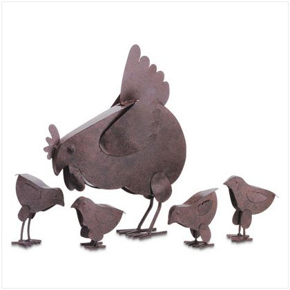 Rustic Hen with Chicks- Lawn Ornaments