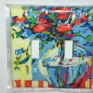 RETRO CHIC FLORALS AND VASE DESIGN DECORATIVE LIGHT SWITCHPLATE COVER