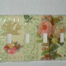 SHABBY CABBAGE ROSES DESIGN DECORATIVE QUAD LIGHT SWITCHPLATE COVER COTTAGE CHIC