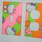 SO CUTE HELLO KITTY DECORATIVE LIGHT SWITCHPLATE COVER AND OUTLET PLUG PLATE COVER