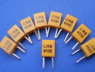 455KHz Ceramic Resonator, 2 legs, 10 pcs.  (Item# X0029)