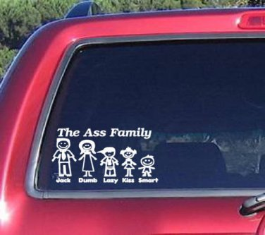 Ass Family Vinyl Graphic Decal Car Window Sticker Funny walking dead Laptop iPhone College