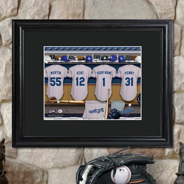 Personalized MLB Clubhouse Print with Matted Wood Frame