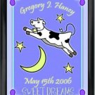 Personalized Childs Room Sign Baby Boy Cow Over the Moon