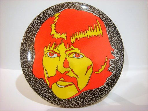 """Beatles 6"""" Button Plaque Psychedelic George Harrison"""
