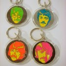 Beatles lot of 4 Psychedelic Round Keychains