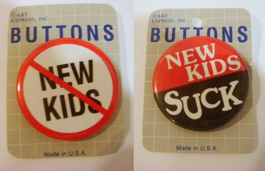 NO NEW KIDS! Pair of Anti-New Kids on the Block Pins