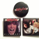 Motley Crue Set of 3 Pin-Back Buttons Mick Mars, Group Shot & Logo