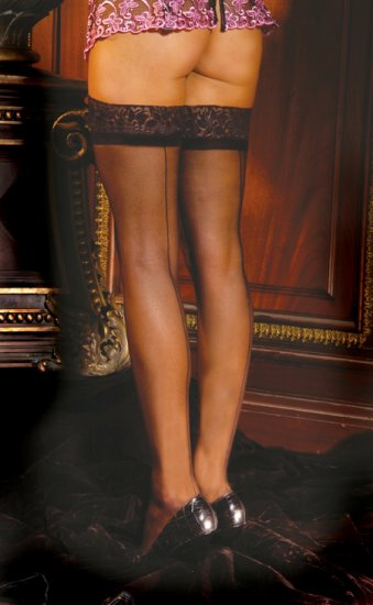 Sheer thigh hi with lace top and back seam.