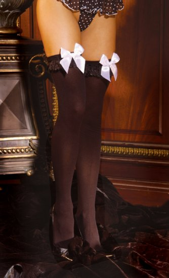 Opaque nylon thigh hi with chiffon ruffle and satin bow.