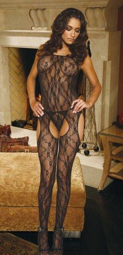Lace suspender bodystocking.