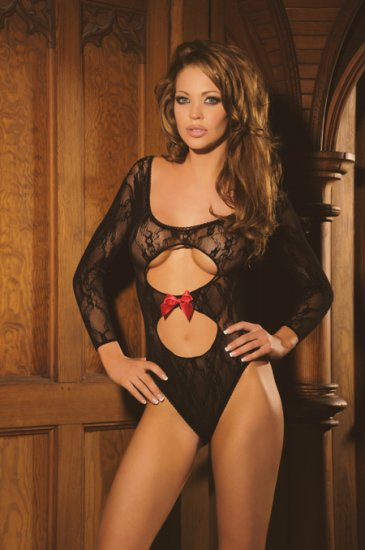 Long sleeve lace teddy with peek-a-boo front and red satin bow.