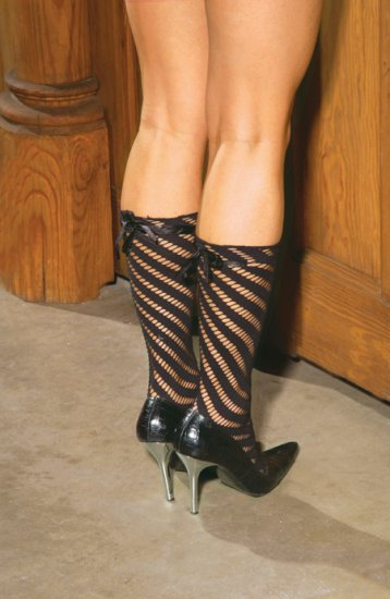 Seamless sock with satin bow detail.
