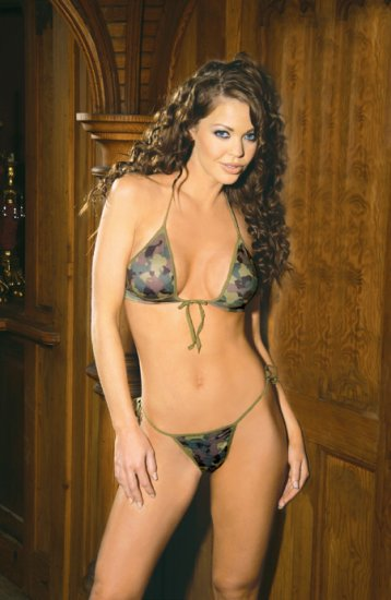 Camouflage print string bra top and matching tie side g-string.
