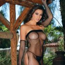 Diamond net bandeau dress with open back and matching gloves.
