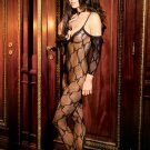 Bow tie lace bodystocking with attached sleeves and open crotch...QUEEN