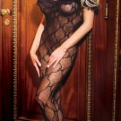 Bow pattern lace open crotch bodystocking with a ruffle top.