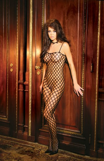Seamless lycra crochet bodystocking with open crotch.