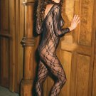 Deep V long sleeve bodystocking with open crotch.