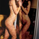 Lycra seamless big diamond net bodystocking with open crotch.