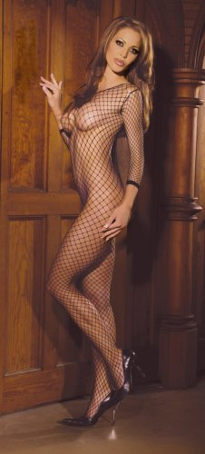 Diamond net long sleeve bodystocking with open crotch.