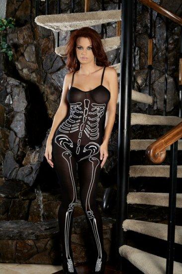Opaque bodystocking with skeleton print.