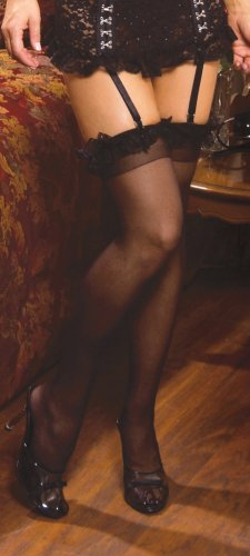 Sheer thigh hi with ruffle.