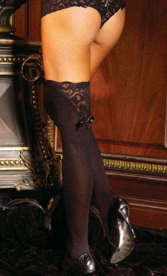Thigh hi with a bow and lace trim.