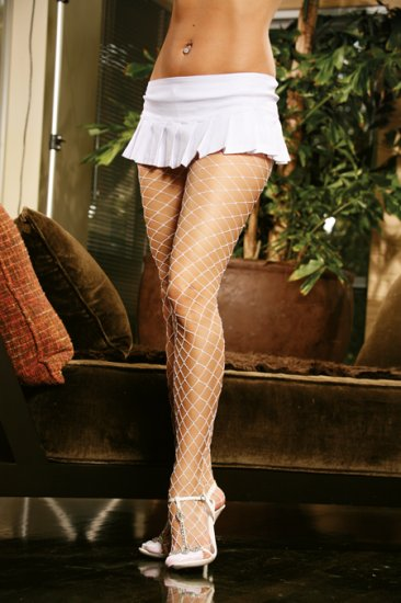 Spandex diamond net pantyhose.,