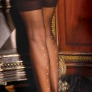 Sheer thigh hi with rhinestone back seam.