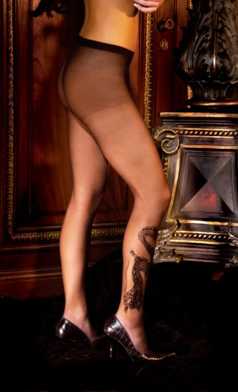 Dragon tattoo sheer pantyhose.